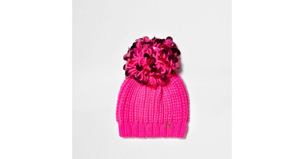 6adaca9dcb9 Lyst - River Island Bright Pink Sequin Pom Pom Beanie Hat in Pink