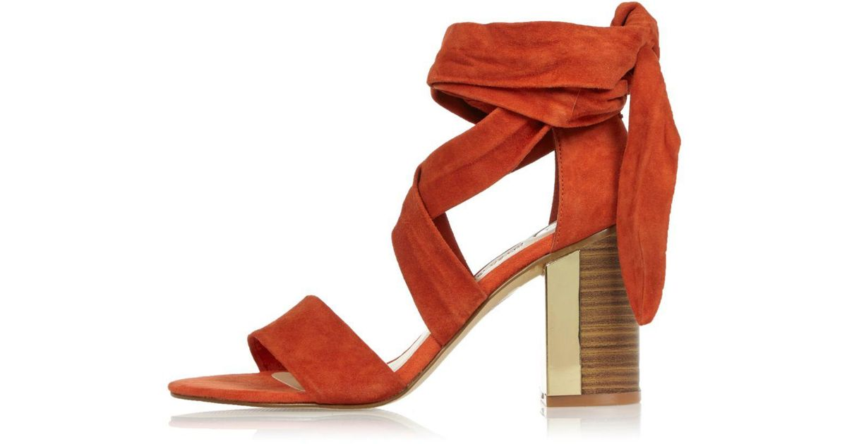 90dff459db2 River Island Dark Orange Suede Tie-up Block Heel Sandals in Red - Lyst