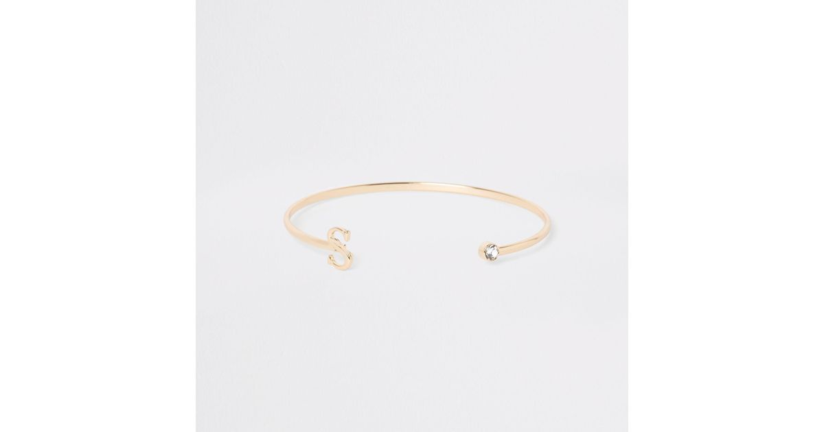 f9aa954f779 River Island Plated 's' Initial Cuff Bracelet in Metallic - Lyst