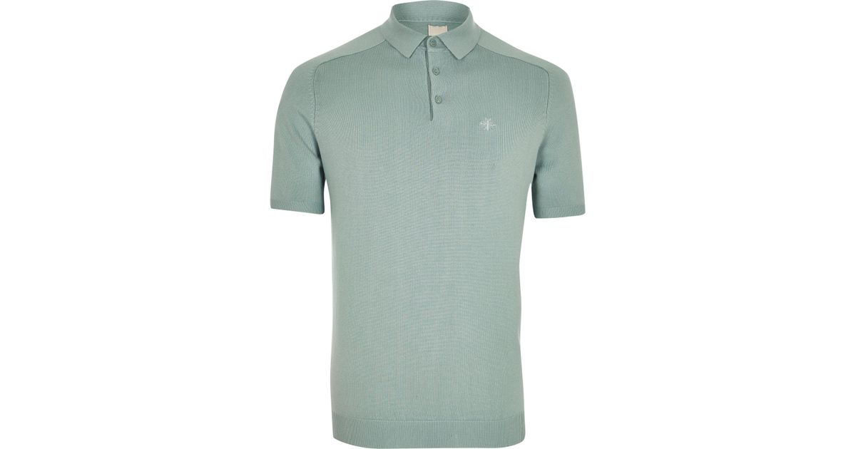 e86be68c River Island Mint Green Slim Fit Wasp Knit Polo Shirt in Green for Men -  Lyst