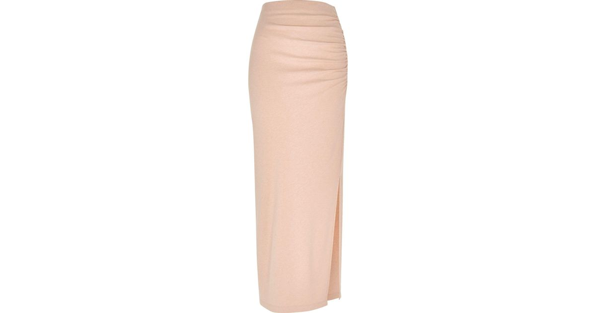 Lyst River Island Light Pink Jersey Ruched Maxi Skirt In Pink