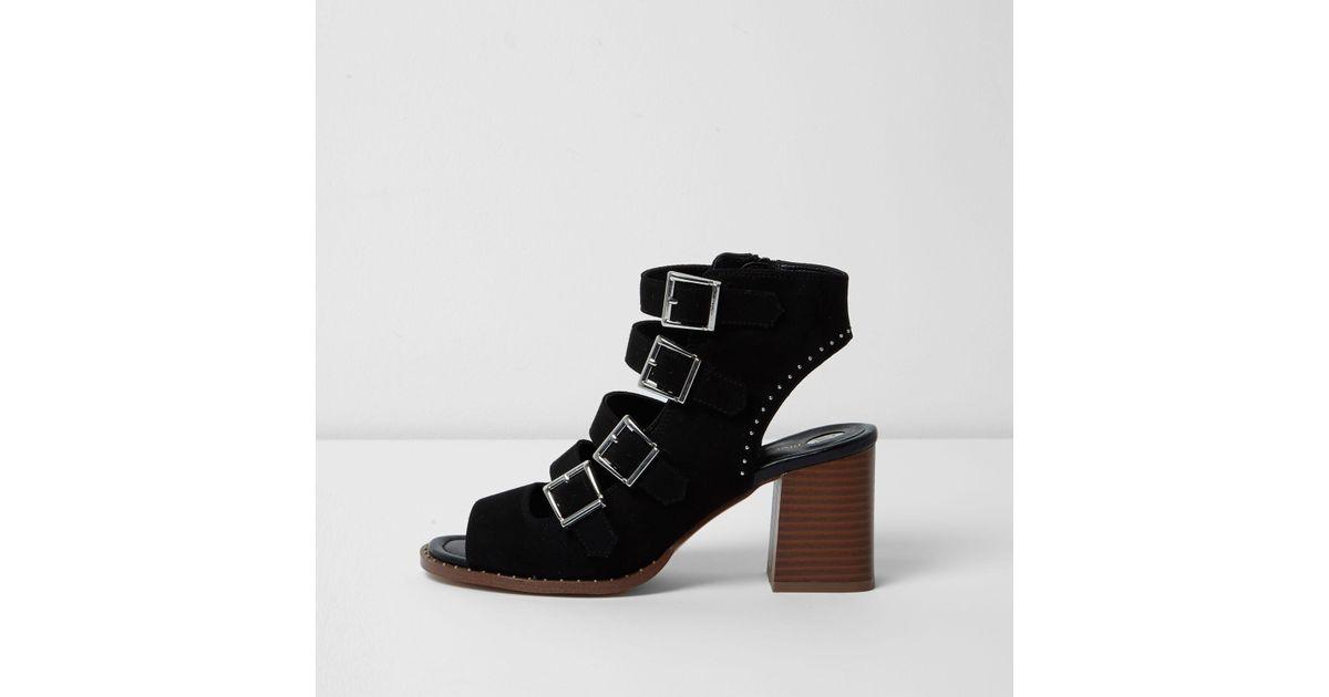 db56a8a3360 Lyst - River Island Black Multi Buckle Block Heel Sandals in Black