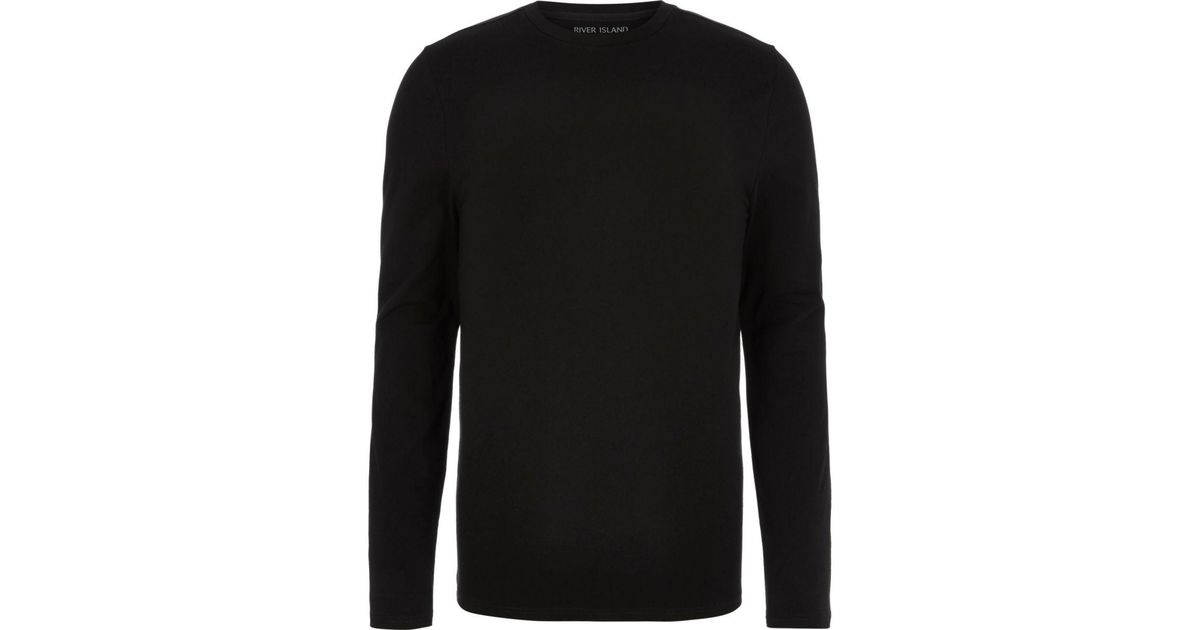 e0314516c Lyst - River Island Black Muscle Fit Long Sleeve T-shirt in Black for Men