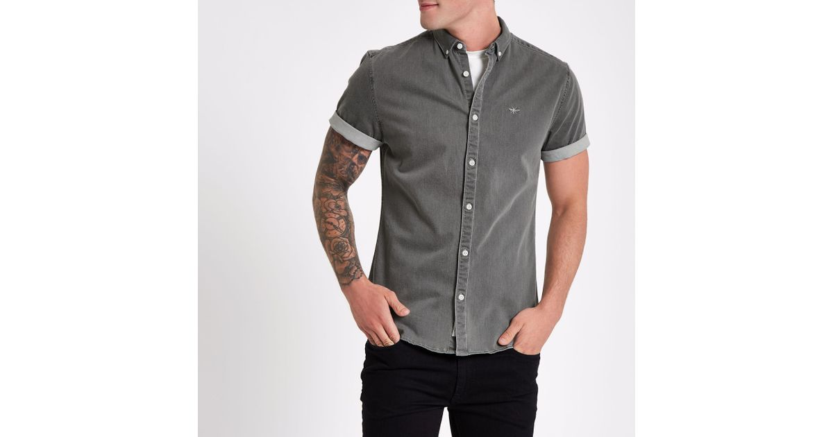 364c8912e River Island Wasp Muscle Fit Denim Shirt in Gray for Men - Lyst