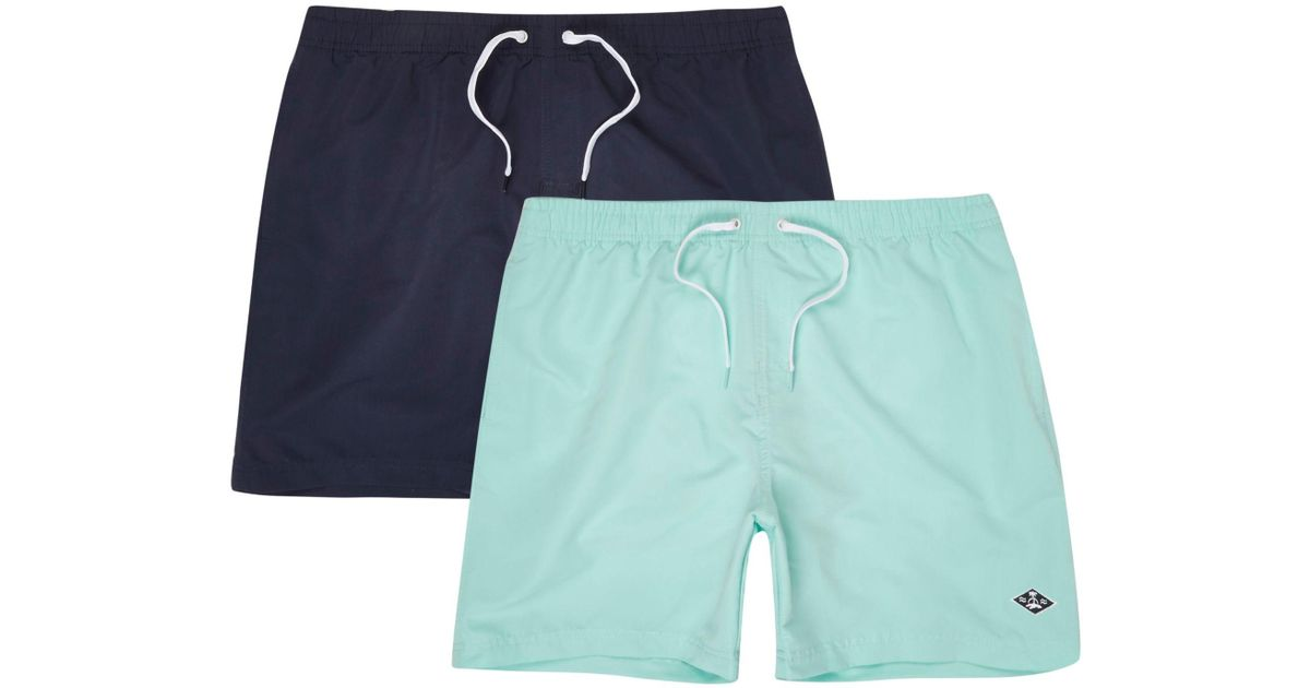 f42dbfdffc River Island Navy And Light Blue Swim Shorts Two Pack in Blue for Men - Lyst
