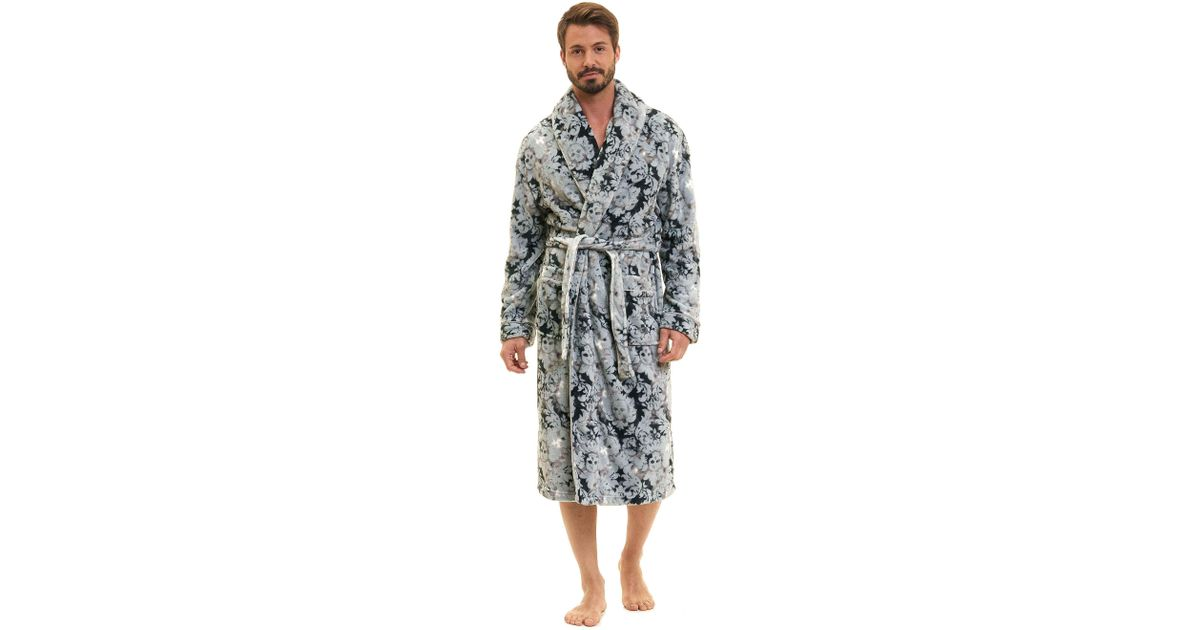 Lyst - Robert Graham Skulls Plush Shawl Robe in Gray for Men