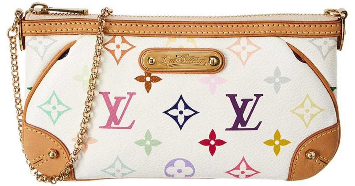 Lyst - Louis Vuitton White Monogram Multicolore Canvas Pochette Milla Mm ef0a50f2512fa