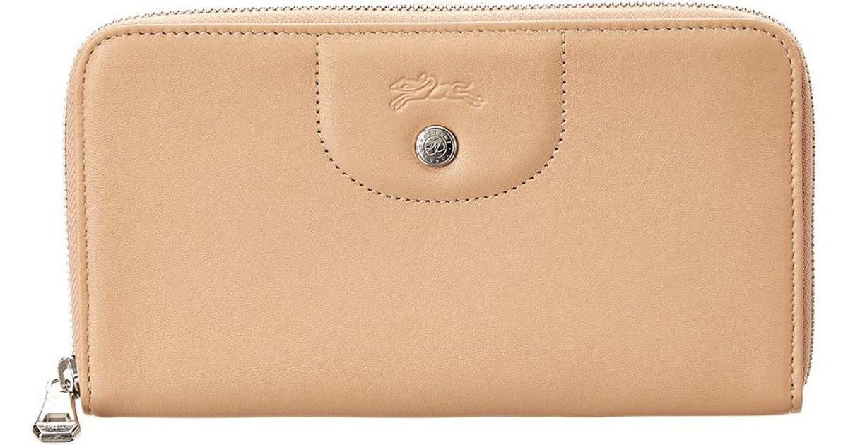 7db2f0e99a Longchamp Le Pliage Cuir Leather Zip Around Wallet in Brown - Save 29% -  Lyst