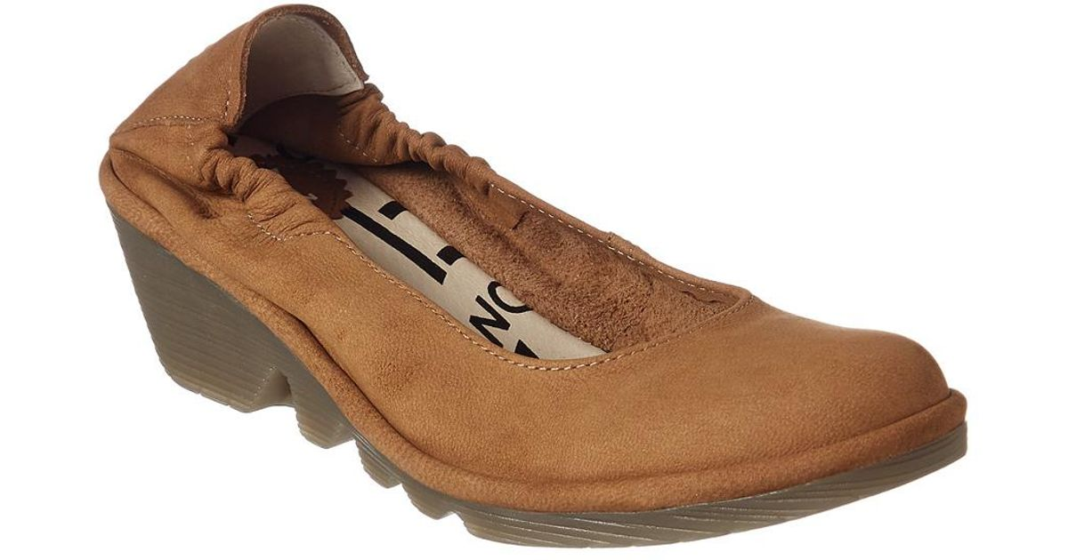 2a7357d27d1 Lyst - Fly London Pled Leather Wedge Flat in Natural - Save  41.1764705882353%