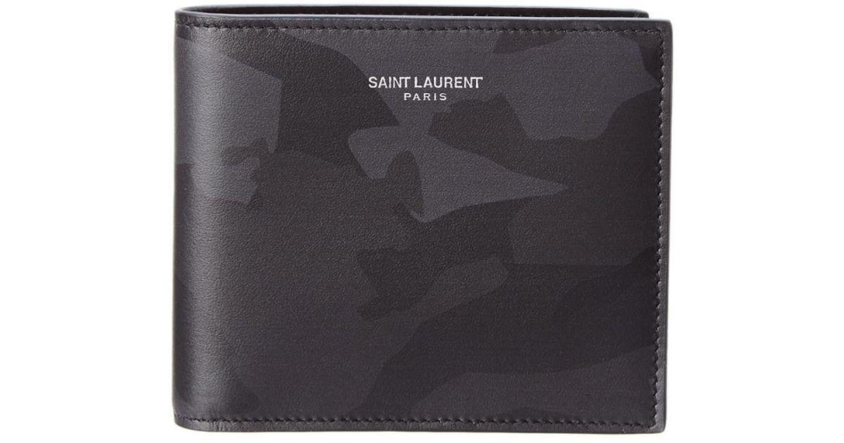 012c241c6f0 Saint Laurent Classic East West Camouflage Leather Bifold Wallet in Black  for Men - Lyst
