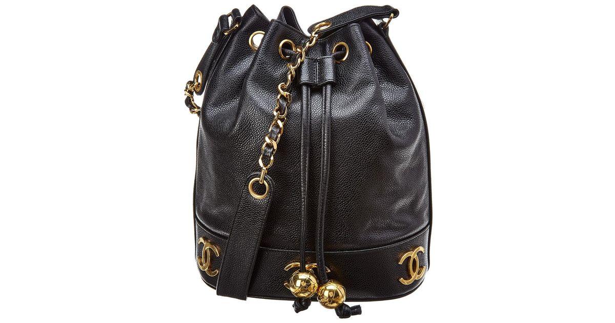755e6b009a60 Lyst - Chanel Black Caviar Leather 3cc Bucket Bag in Black