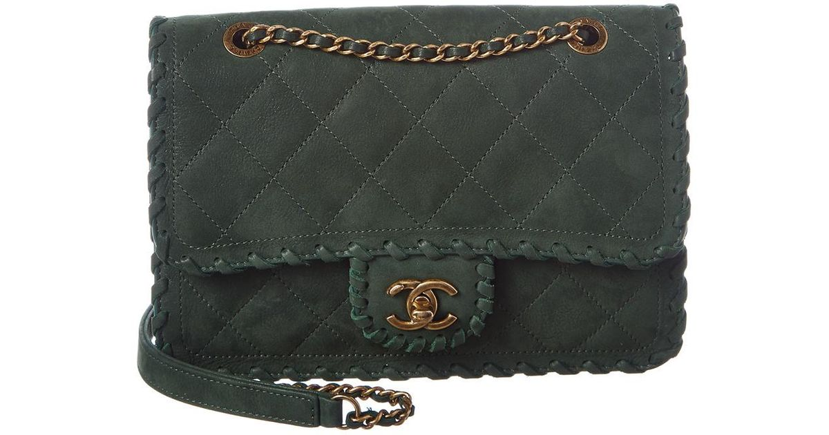 ba0d59df5 Chanel Green Quilted Calfskin Leather Whipstitch Small Flap Bag in Green -  Lyst