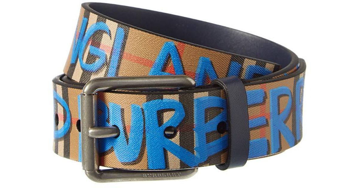 b071686839d5 Burberry Graffiti Print Vintage Check Leather Belt in Brown for Men - Lyst