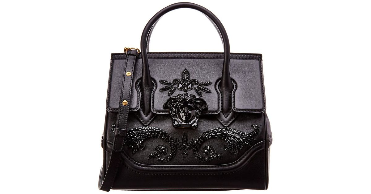 cc49718c8047 Lyst - Versace Palazzo Empire Medium Leather Satchel in Black