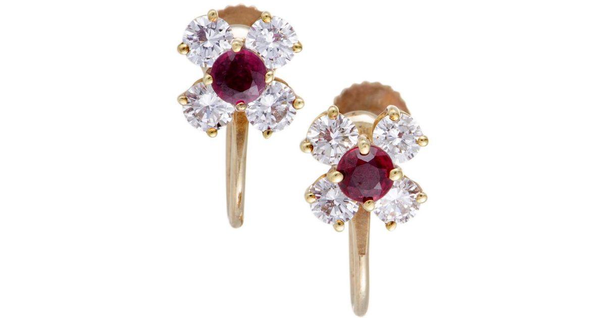 Tiffany Co 18k 1 35 Ct Tw Diamond Ruby Earrings