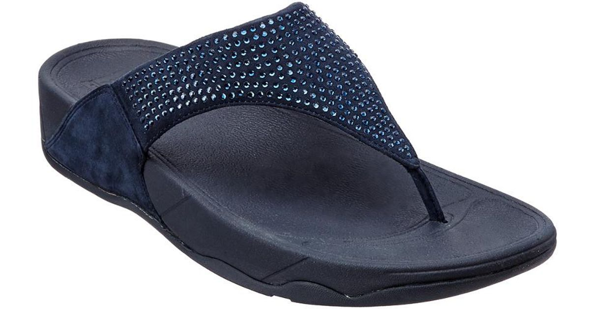 95e94742e Lyst - Fitflop Rokkit Suede Slide Sandal in Blue - Save 17%