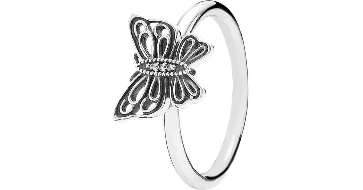6660d569d Lyst - PANDORA Love Takes Flight Silver Cz Butterfly Ring in Metallic