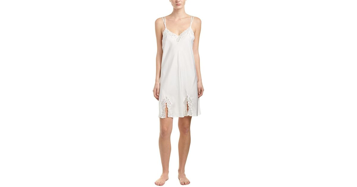 Lyst - Natori Feathers Satin Chemise in White 29a87ea9f
