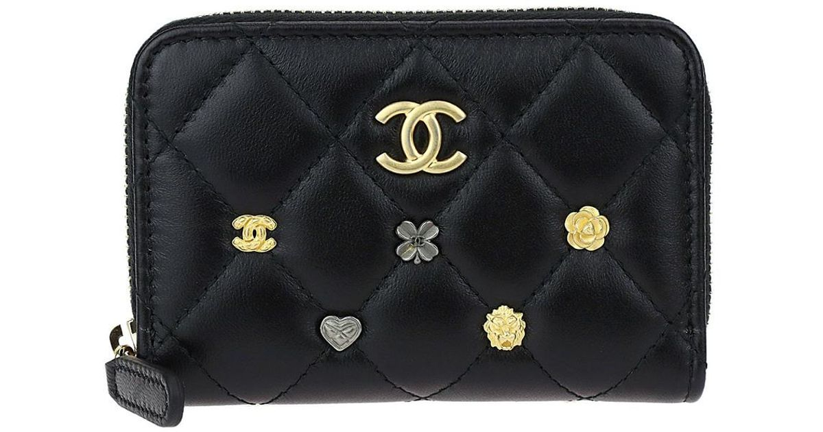 60a1bf9c1371da Chanel Black Quilted Lambskin Leather Lucky Charms Zip Coin Purse in Black  - Lyst