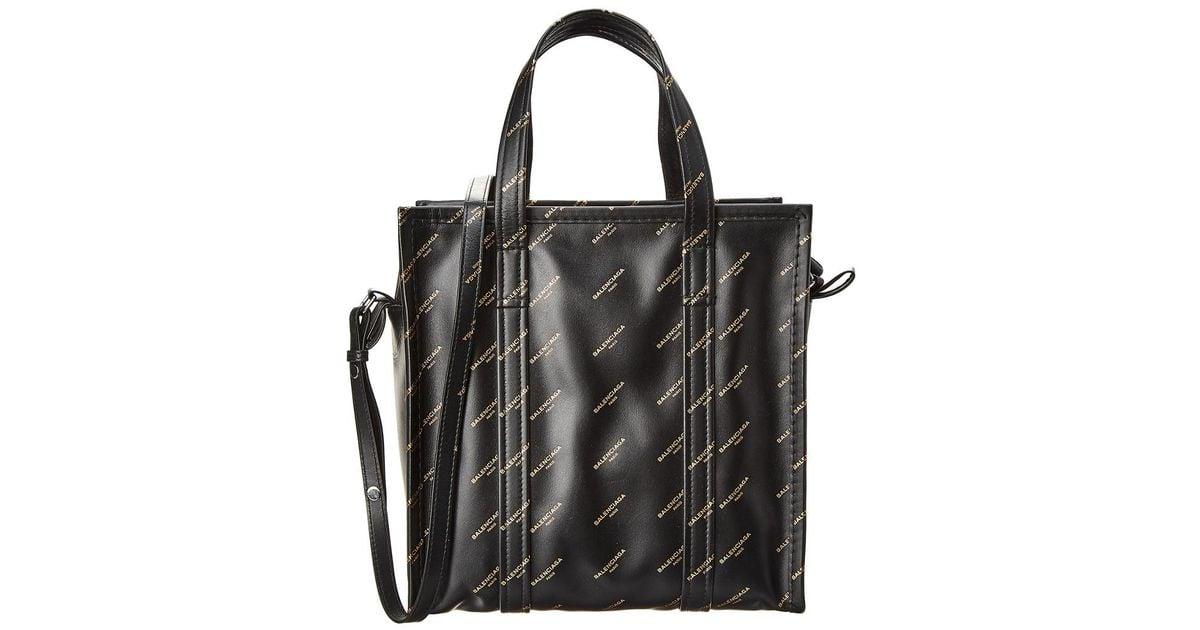 ddc3562a9f Balenciaga Black Bazar Small Logo Printed Leather Shopper Tote