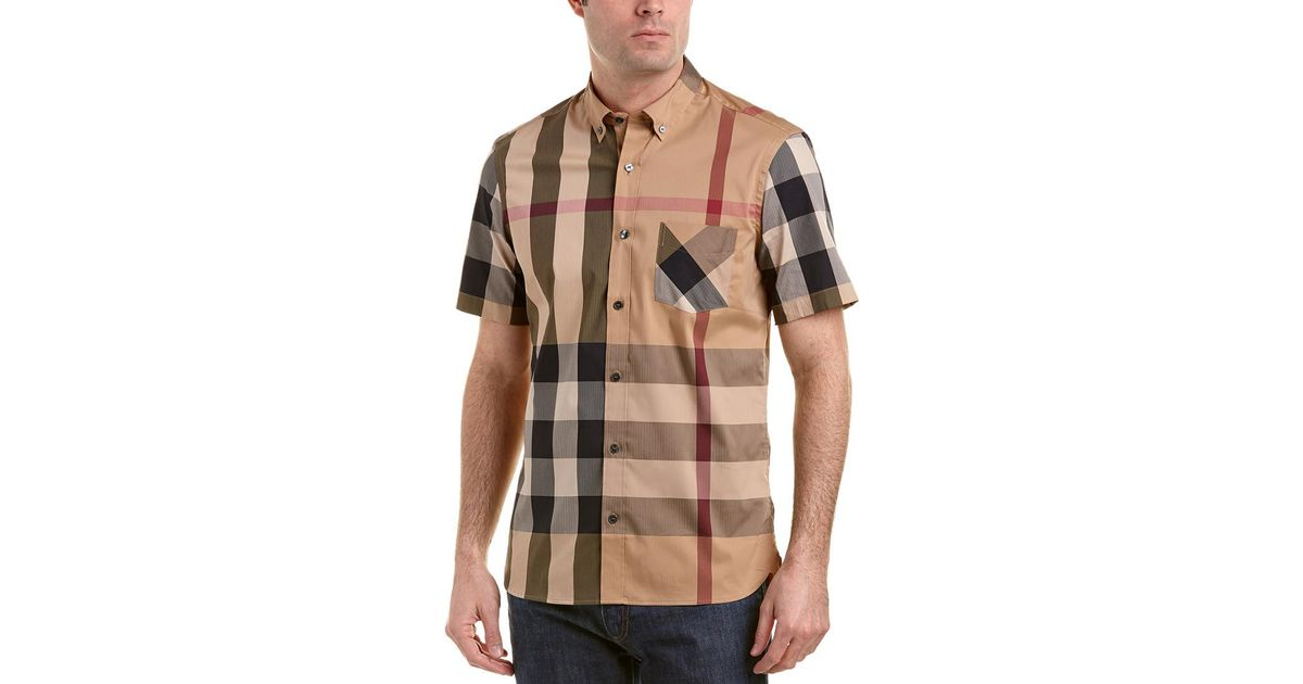 Lyst - Burberry Thornaby Short-sleeve Check Stretch Cotton Blend Shirt in  Brown for Men 422c867581