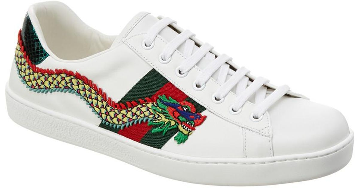 f239fe5f6ca Lyst - Gucci Ace Dragon Appliqué Leather Low-top Sneaker in White for Men