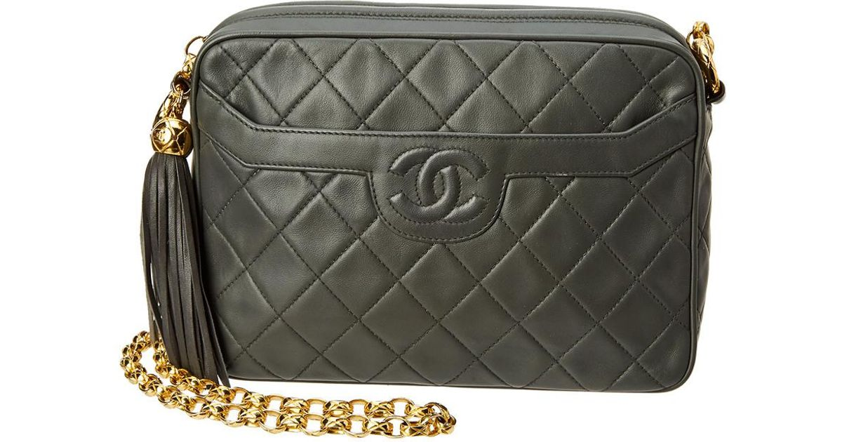 81ce622b7e8b Chanel Grey Quilted Lambskin Medium Camera Bag in Gray - Lyst