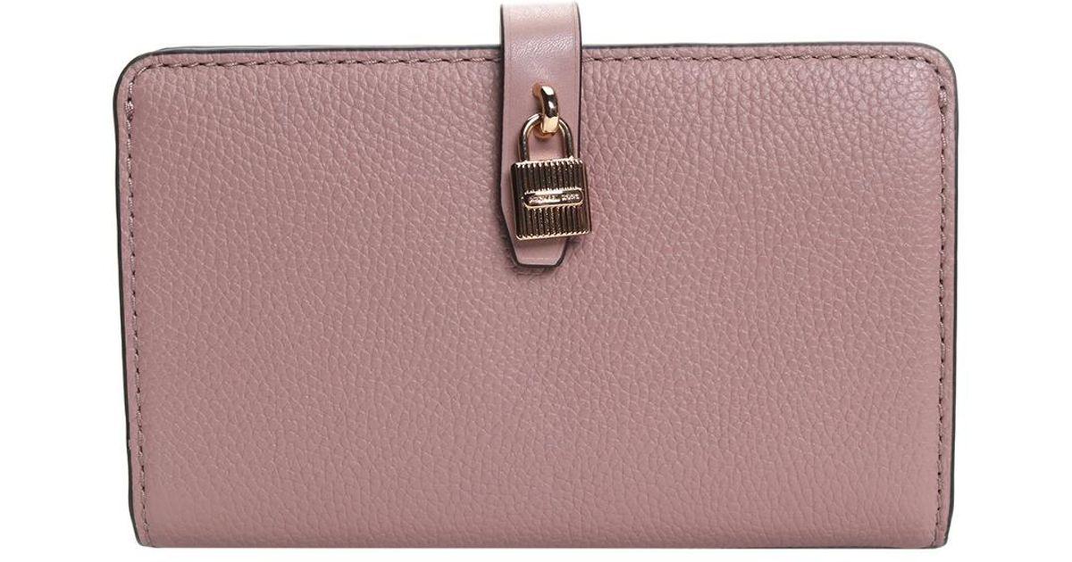 e16c4afa1a6209 Michael Kors Michael Adele Slim Bifold Leather Wallet in Purple - Lyst