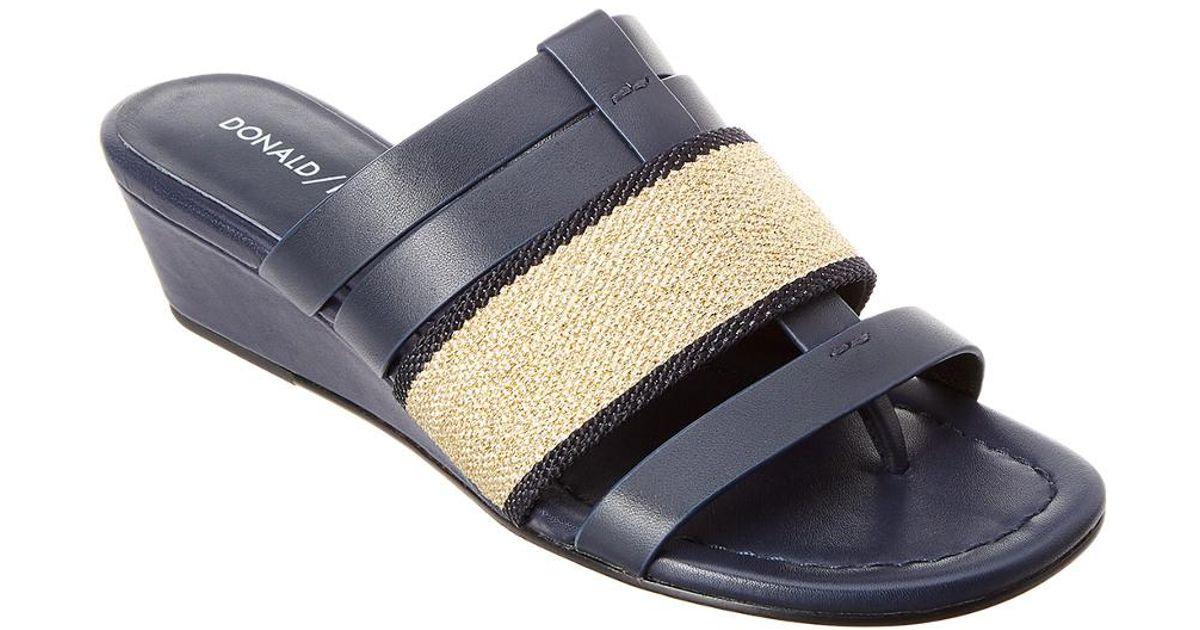 f5389449e7a Lyst - Donald J Pliner Dara Leather Wedge Sandal in Black