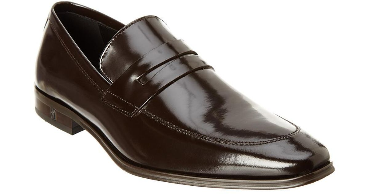61704efecc9 Lyst - Versace Versace Collection Brushed Leather Penny Loafer in Black for  Men