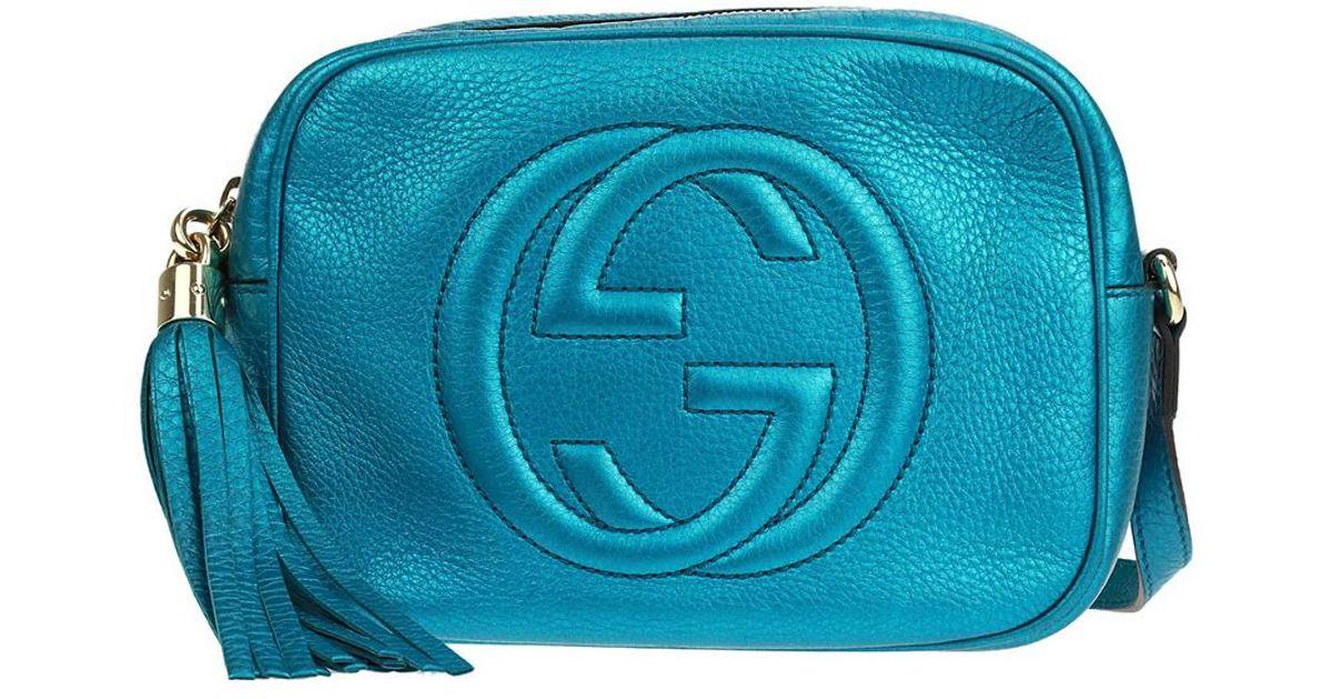 481f93c37687 Gucci Blue Metallic Leather Small Soho Disco Bag in Blue - Lyst