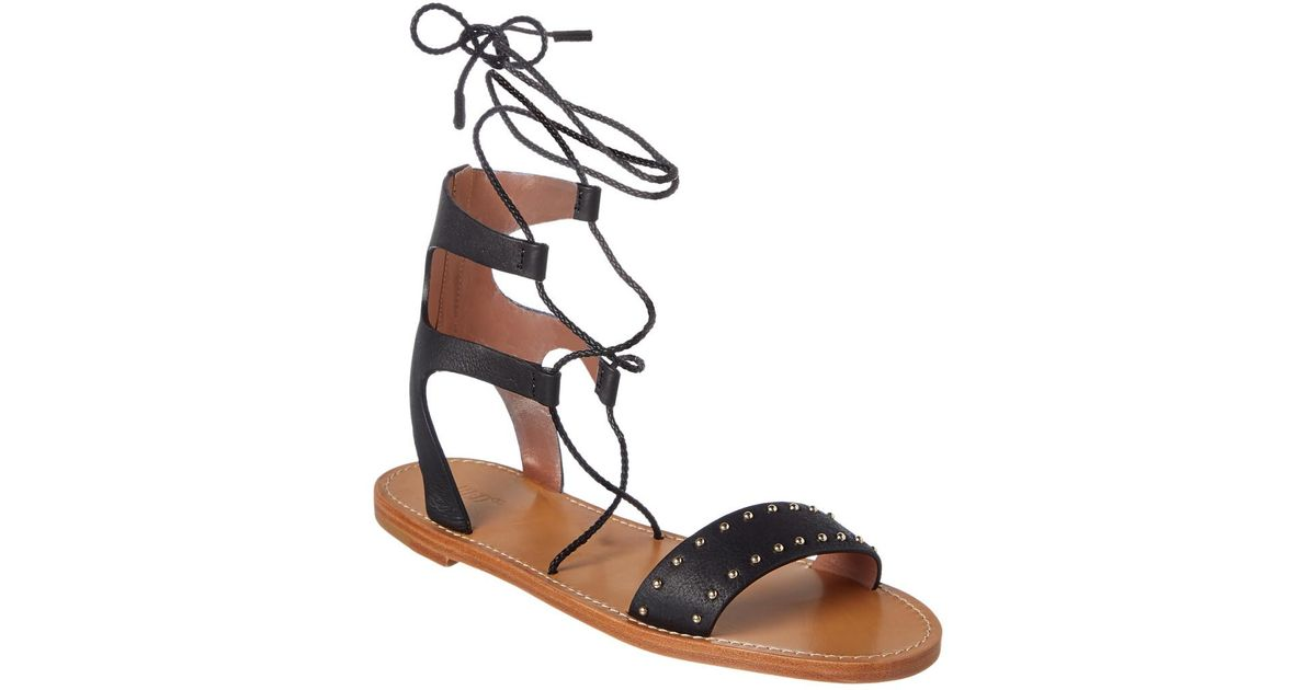 c62cecf297d4 Lyst - RED Valentino Studded Leather Flat Sandal in Black - Save 28%