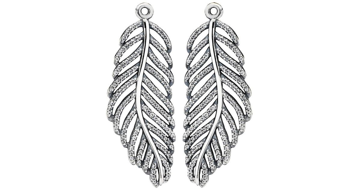 3008a16db Lyst - PANDORA Light As A Feather Silver Cz Earring Charms in Metallic