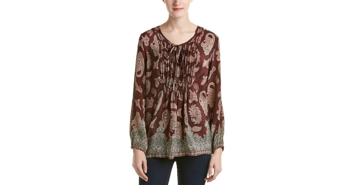 c5c051b9142f8 Lyst - Tolani Sonya Silk Blouse in Red