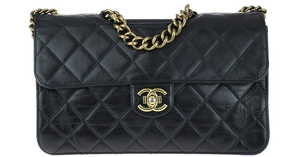 6fa47787a0f0 Lyst - Chanel Limited Edition Black Quilted Glazed Calfskin Leather Perfect  Edge Flap Bag in Black