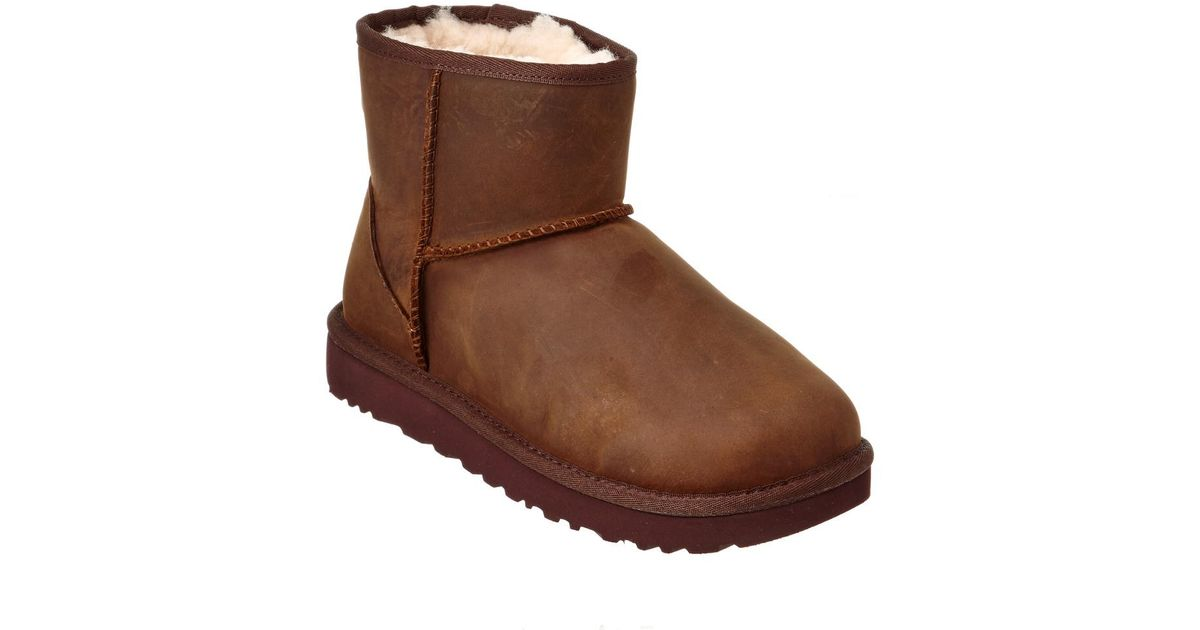 d3a6b2ee50c Lyst - Ugg Women s Classic Mini Leather Boot in Brown