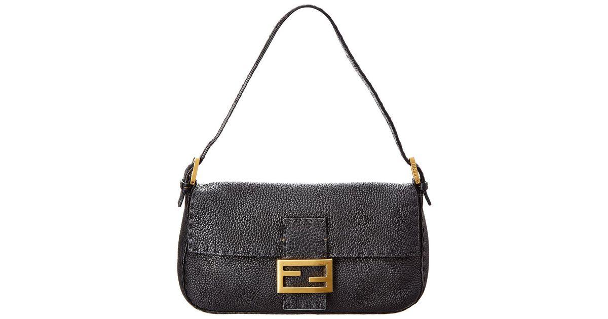 12564a2ce290 Fendi Black Selleria Baguette Bag in Black - Lyst