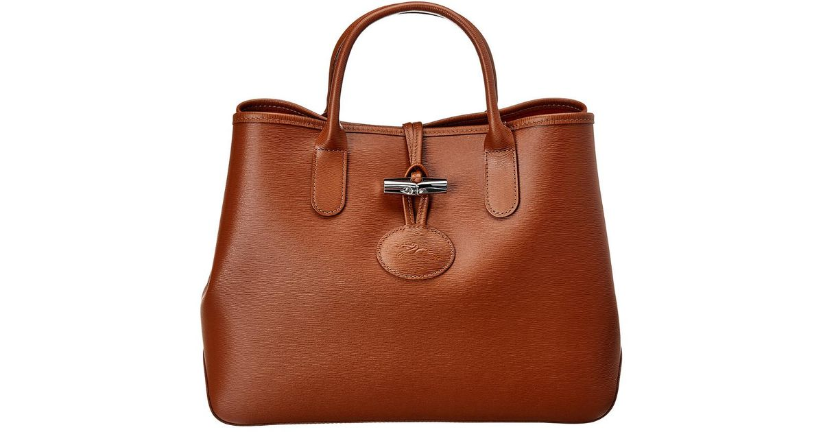 Lyst - Longchamp Roseau Small Leather Tote in Brown 4ce6f0096e53a