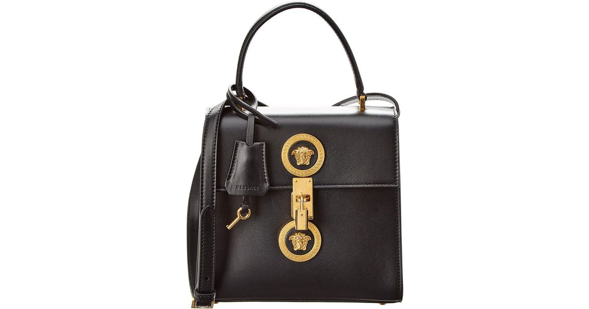 57983d6c46f7 Versace Medium Icon Leather Shoulder Bag in Black - Lyst