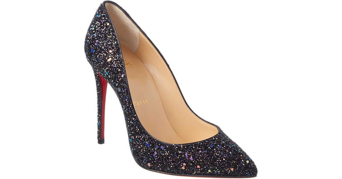 26ae3732156ba Lyst - Christian Louboutin Pigalle Follies 100 Glitter Leather Pump in Black