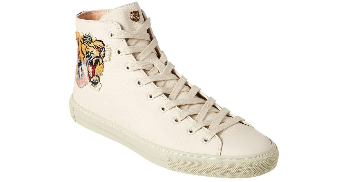 12b1dab9b Gucci Tiger Leather High Top Sneaker in White for Men - Lyst