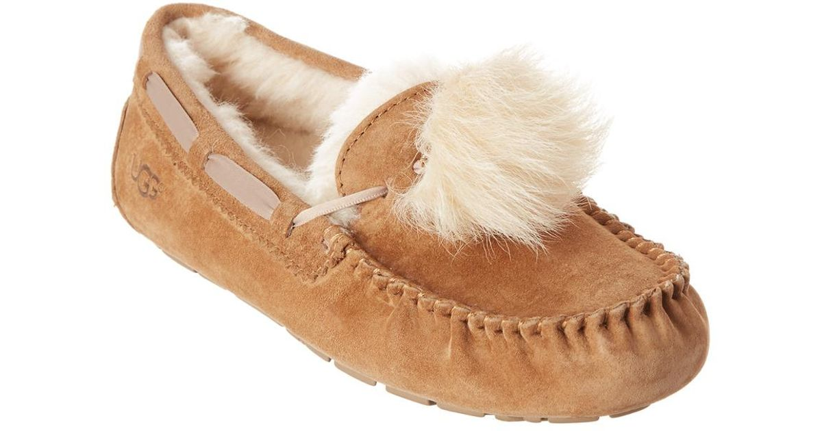 b14f0038e62 Ugg - Brown Women's Dakota Pom Pom Water-resistant Suede Slipper - Lyst