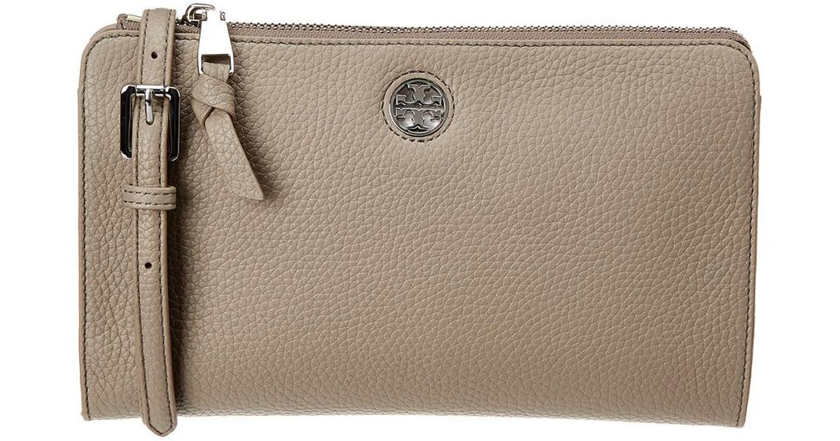 7377f75323fa Lyst - Tory Burch Brody Pebbled Leather Wallet Crossbody in Gray