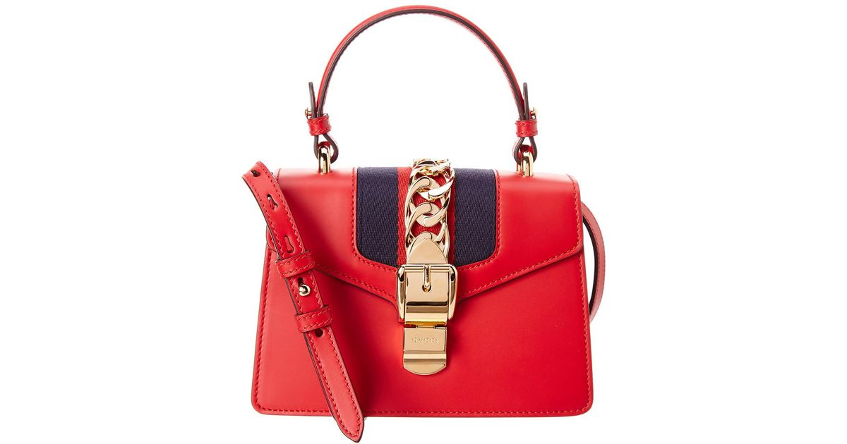 fddc4a7c1b0 Lyst - Gucci Sylvie Mini Leather Satchel in Red