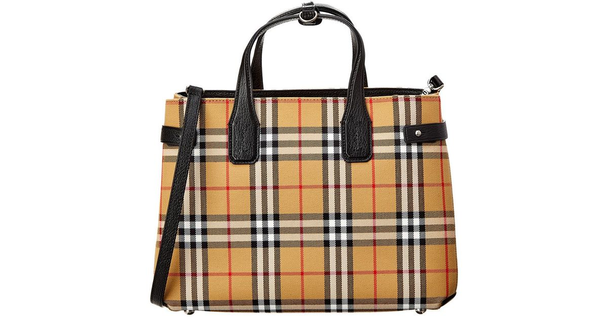 Lyst - Burberry Medium Banner Vintage Check Canvas   Leather Tote in Black  - Save 23% 1454af21d0
