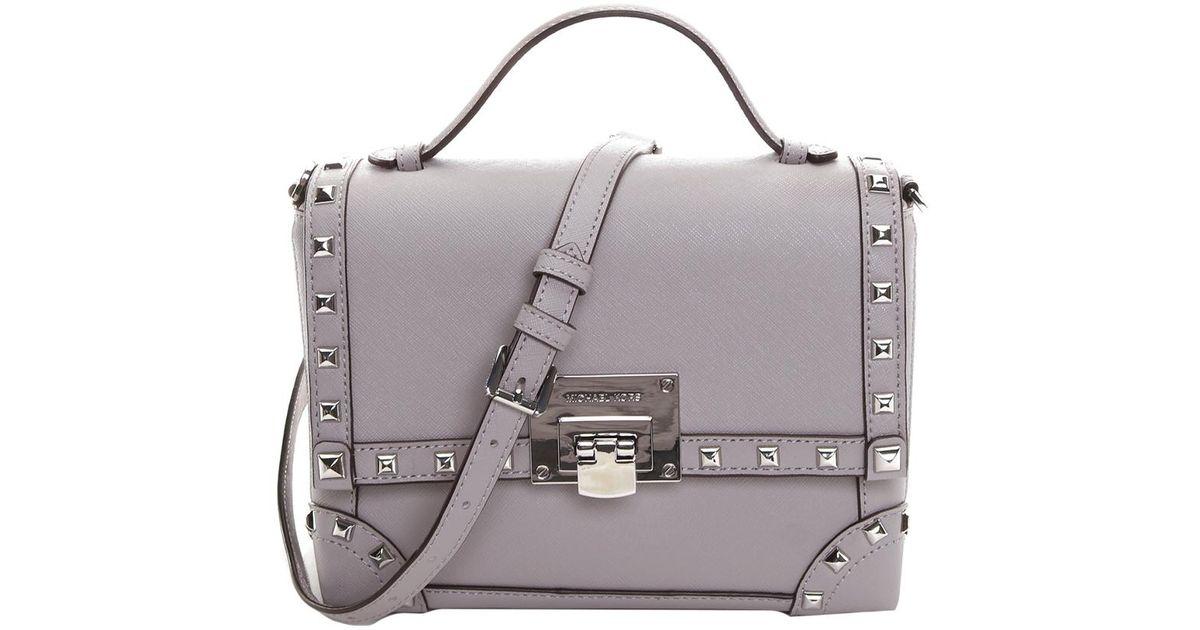 72184f306081 Lyst - Michael Kors Michael Tina Std Small Trunk Bag Leather Crossbody in  Gray