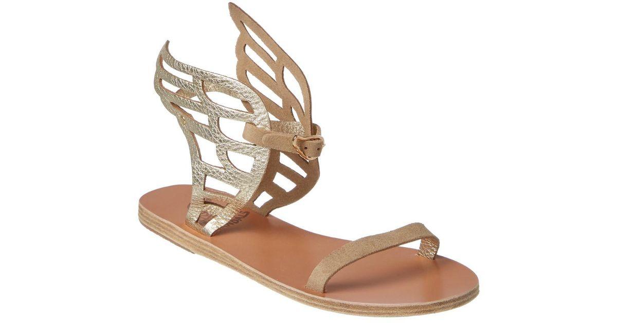 0e50b224b4633 Lyst - Ancient Greek Sandals Ikaria Lace Metallic Leather Wing Sandal