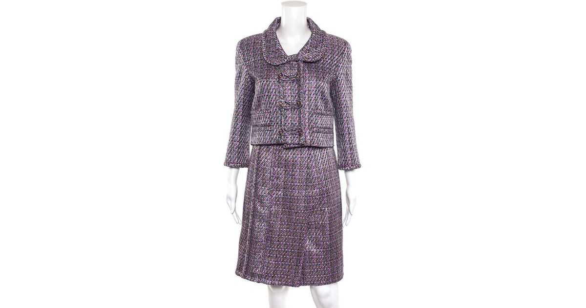 Chanel - Purple Multicolor Cotton Blend Long Sleeve Skirt Suit (size French  38) - Lyst