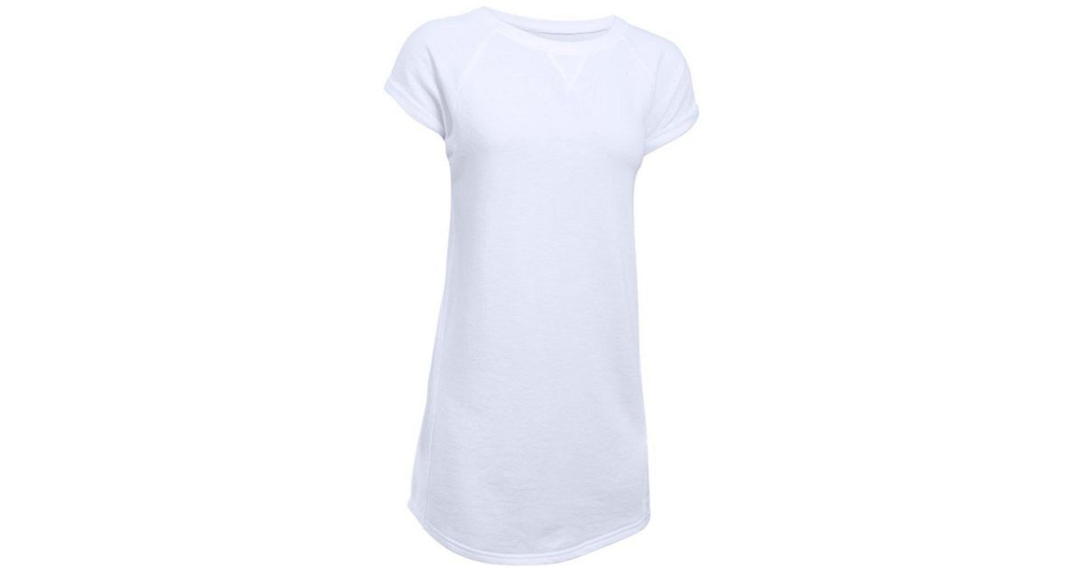 c3f87d519ae Lyst - Under Armour Women's Favorite French Terry Tunic Dress in White