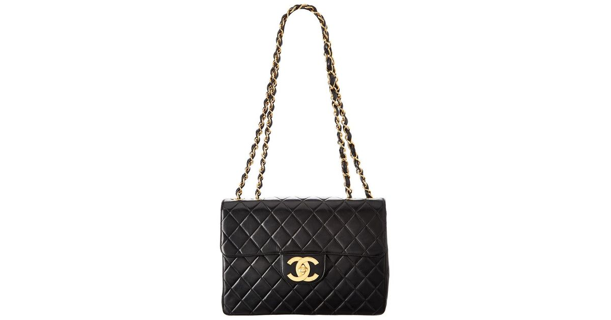 64ea4375315be Lyst - Chanel Black Quilted Lambskin Leather Maxi Classic Flap Bag in Black